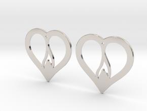 The Flame Hearts (precious metal earrings) in Platinum