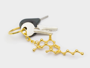 THC Molecule Keychain in Polished Gold Steel