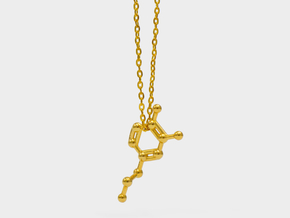 Dopamine Molecule Necklace in 18k Gold Plated Brass