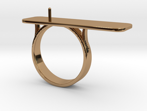 Anniversary ring with Pearl - RS000100091 in Polished Brass: 4 / 46.5