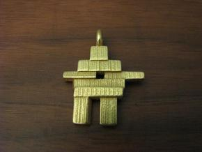 Inukshuk Pendant in Polished Gold Steel