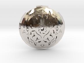 Hollow Rune Medallion in Rhodium Plated Brass