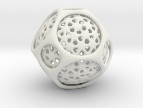 Awesome Trapped  Sphere Inside Trunkated Octohedro in White Natural Versatile Plastic