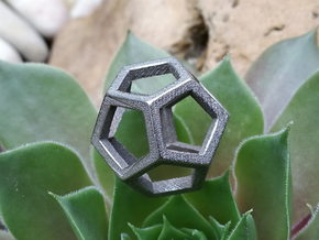 Dodecahedron Wire  in Polished Bronzed Silver Steel