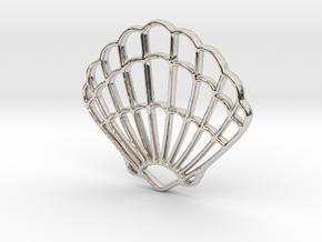 Seashell Pendant Charm in Rhodium Plated Brass