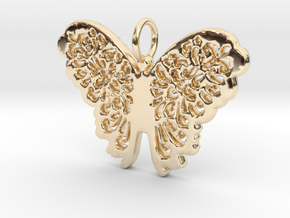 Flourish Lace Butterfly Pendant Charm in 14K Yellow Gold