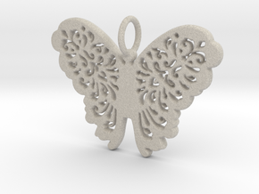 Flourish Lace Butterfly Pendant Charm in Natural Sandstone
