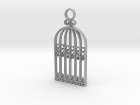 Vintage Birdcage Pendant Charm in Aluminum