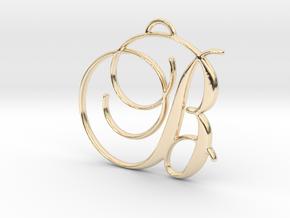 Elegant Script Monogram B Pendant Charm in 14K Yellow Gold