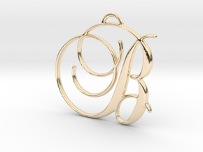 Elegant Script Monogram B Pendant Charm in 14k Gold Plated Brass