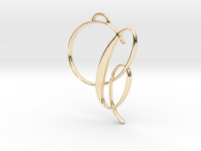 Elegant Script Monogram C Pendant Charm in 14K Yellow Gold