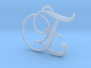 Elegant Script Monogram E Pendant Charm in Smooth Fine Detail Plastic