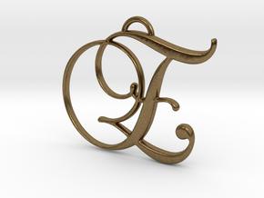 Elegant Script Monogram E Pendant Charm in Natural Bronze