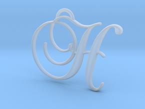 Elegant Script Monogram H Pendant Charm in Smooth Fine Detail Plastic
