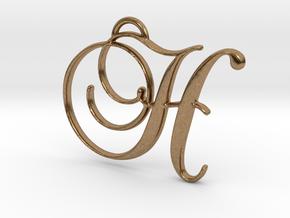 Elegant Script Monogram H Pendant Charm in Natural Brass
