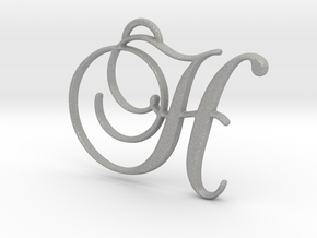 Elegant Script Monogram H Pendant Charm in Aluminum