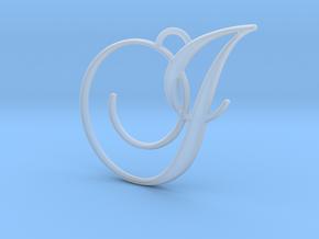 Elegant Script Monogram I Pendant Charm in Smooth Fine Detail Plastic