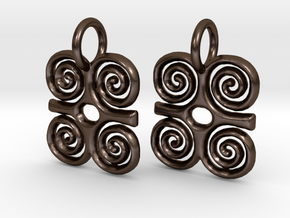 Adinkra-StrengthCharms (pair) in Polished Bronze Steel