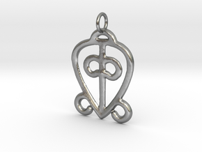 Power of Love Pendant (small) in Natural Silver