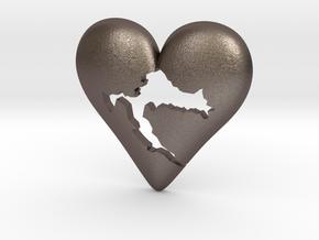 Croatia in Heart Pendant in Polished Bronzed Silver Steel