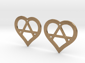 The Wild Hearts (precious metal earrings) in Natural Brass