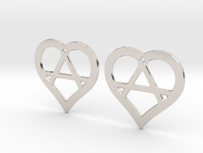 The Wild Hearts (precious metal earrings) in Rhodium Plated Brass