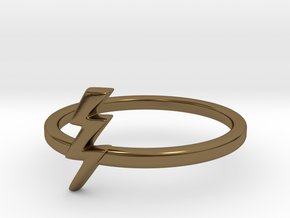 Lightning Bolt Ring (Troubled Waters Trio) in Polished Bronze: 8 / 56.75