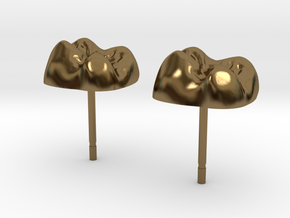 Tooth Cap Stud Earrings in Polished Bronze