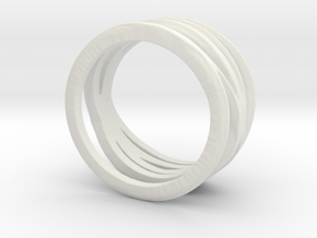 Lines Overlapping Ring Size 6.5 in White Strong & Flexible