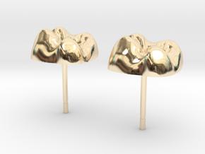 Tooth Cap Stud Earrings in 14K Yellow Gold