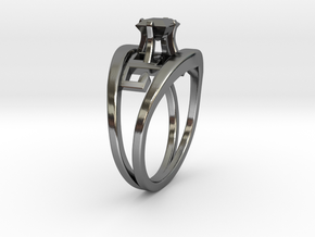 Egyptian Hieroglyphics Twin Ring + Square Gem in Fine Detail Polished Silver