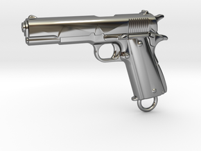 Colt 1911 Keychain in Fine Detail Polished Silver