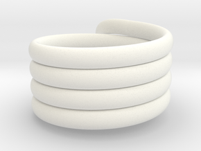 Coiled Ring  Size 10 in White Processed Versatile Plastic