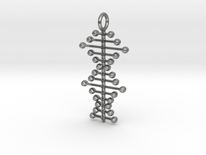 Stylized DNA Pendant in Natural Silver
