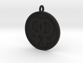Double Female Pendant in Black Natural Versatile Plastic