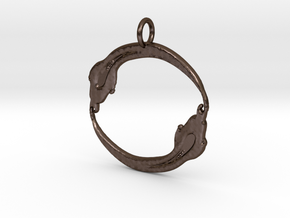 Circled Snake Pendant in Polished Bronze Steel