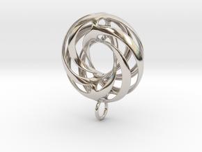 Twisted Torus (Smaller) Pendant in Precious Metals in Rhodium Plated Brass