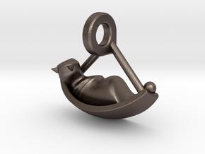 Idyllic Cat in Cradle in Polished Bronzed Silver Steel: Medium