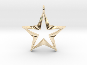 Twisting Star Pendant in 14k Gold Plated Brass