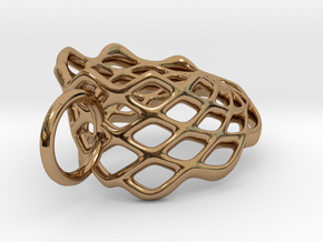 Mobius Mesh (smaller) Pendant in Precious Metals in Polished Brass