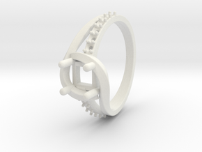 Solitaire With Accents Ring in White Natural Versatile Plastic: 6.75 / 53.375