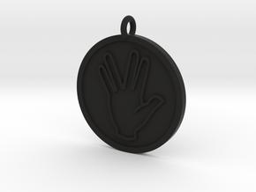 Vulcan Salute Pendant in Black Natural Versatile Plastic