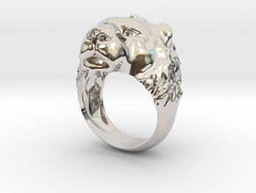 Lion Ring New in Rhodium Plated Brass: 2 / 41.5