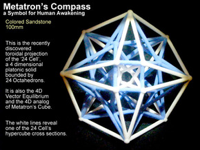 Metatron's Compass 100mm -4D Vector Equilibrium in Full Color Sandstone