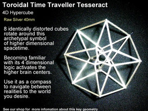 Sacred Geometry: Toroidal Hypercube 40mmx1mm in Natural Silver