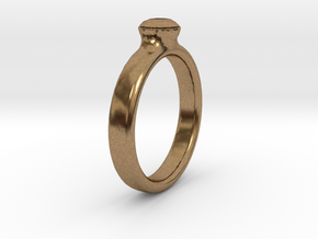 Diamond Solitaire Engagement Ring - Gold & Silver in Natural Brass