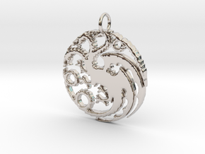 Game Of Thrones Pendant in Rhodium Plated Brass