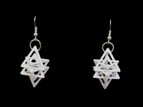 Dual Tetrahedron Earring in White Processed Versatile Plastic