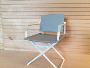 1:12 Chair Director in White Processed Versatile Plastic