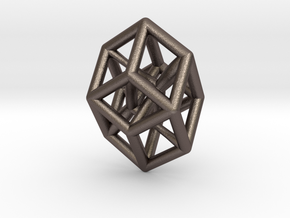 Bilinski Tesseract Pendant in Polished Bronzed Silver Steel: Small